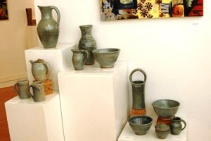 Group of pots by Nan Rothwell at McGuffey Art Center