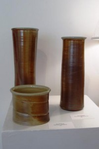 Wood fired pots by Nan Rothwell at McGffey Art Center